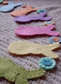 8 Rabbit Peeps Easter Garland - Birthday Party Banner- Bunny - Penny Rug -Spring Garland Swag Pastel Reusable Photo Prop