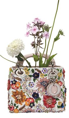 Christian Dior Embroidered and Beaded Floral Bag