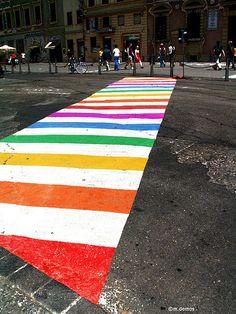 """Rainbow Walk"" in Florence, Tuscany, Italy - photo by Melissa (idlelight), via Flickr"