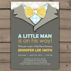 Little Man Baby Shower invite Baby Shower door Anietillustration