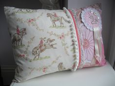 Handmade vintage fabric cushion, similar available to order from www.facebook.com/jumbleberry