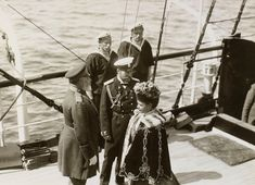 King Edward VII, Nicholas II, Emperor of Russia and Dowager Empress Maria Feodorovna in the Bay of Reval, 1908 9 Jun 1908