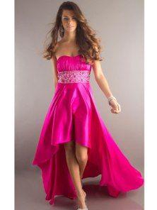 cute strapless pink prom dress
