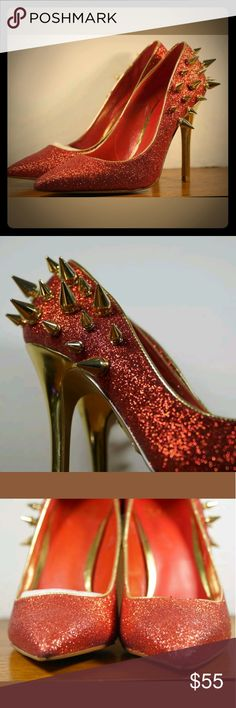Truth Or Dare By Madonna Red Glitter Kitten Heels Truth Or Dare By Madonna Red Glitter Kitten Heels Gold Spikes Womens US 6.5 EUR 37. These are new never worn, one of the heels has a scrape shown in pictures. Please see pictures...Thanks for looking! Truth Or Dare By Madonna Shoes Heels