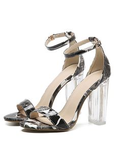 f46804d53e8 Hot Sale Women Classics Sexy transparent sandals peep toe high heels shoes  ladies Crystal thick with heels print flower shoes