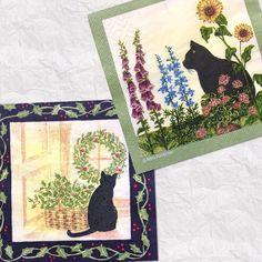 Set of 2 (two)beautiful napkins Black Cat cream,green, black art by Alice Backman for decoupage ,decoupage under glass,scrapbooking door Dalilasdecoupage op Etsy