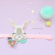 Dreaming Bunny Rabbit Headband Hair Clip by LittleMagicPieces Cute Crafts, Felt Crafts, Diy And Crafts, Baby Girl Headbands, Headband Hair, Fabric Flower Brooch, Felt Hair Clips, Handmade Hair Accessories, Making Hair Bows