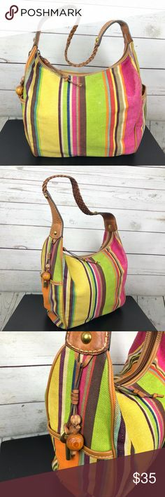 """Fossil Canvas & Leather Rainbow Hobo Bag Tote Fossil striped canvas tote.  Distressed look with braided leather strap.  Gently used condition, distressing marks on the print, the bottom is a bit worn and dingy.  Inside has minimal wear.  Medium side shoulder bag, approximately 13"""" X 11"""" with a 10"""" strap drop.  BMISC Fossil Bags Hobos"""