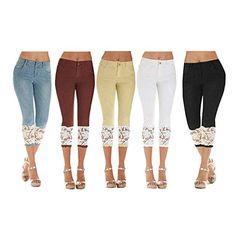 6cf7f356a4 Women s Jeggings High Waist Denim Pants Casual Jeans Denim Unique Skinny  Straight Pants with Lace 7 8 Stretch Denim Pants (Color   Hellblau Size