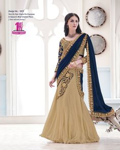 Angelic Cream And Navy Blue Lycra Net Cording Embroidery Stone Work Bridal Lehenga Sarees. buy online shopping sarees at -Mauritius. Get Latest Collection Of Online Shopping Sarees, crepe silk sarees online, wedding saree, saree online india from angelnx. Lehanga Saree, Lehenga Style Saree, Blue Lehenga, Net Lehenga, Party Wear Lehenga, Bridal Lehenga Choli, Saree Wedding, Anarkali, Sari
