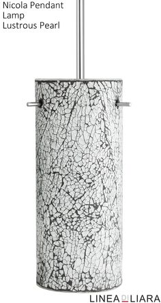 Nicola Cylindrical Stem Hung Pendant Lamp with Crackled Glass Shade-- Lustrous Pearl by Linea di Liara ✦ Uses 1 Medium Base (E26) Bulb - 100W Max (Not Included) ✦ http://lineadiliara.com/collections/pendant/products/nicola-cylindrical-pendant #Lighting