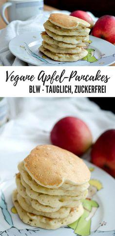 Zuckerfreie, vegane und BLW-taugliche Pancakes / Pfannkuchen mit Apfel. Schmecken kleinen Kindern besonders gut! Gesund und vegan ohne weißen Zucker. Baby led weaning Rezept. breifrei