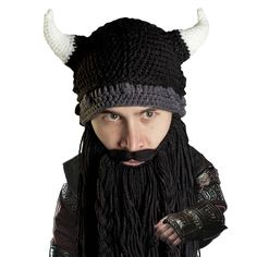 Beard Head Viking Pillager Beard Beanie - Funny Knit Horned Hat w/Fake Beard Knitted Beard, Fake Beards, Beard Beanie, Knit Beanie, Beard Head, Beard Designs, Beard Tips, Viking Beard, Epic Beard