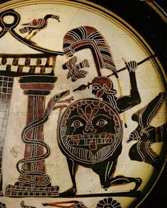 Cadmos, son of Agenor, brother of Europa, killing the dragon. Black-figured cup (550 BCE) from Cerveteri Diameter Louvre Museum
