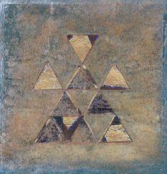 Judy Merchant Papyrus 1 36 x 36 cms Fabric, paint and machine stitch