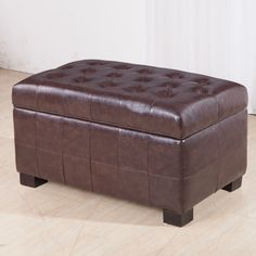 The button tufted storage bench ottoman offers a comfortable place to rest your feet or sit down. Featuring a solid wood frame for that added touch of old world style, this storage ottoman will be a lovely addition in any room.
