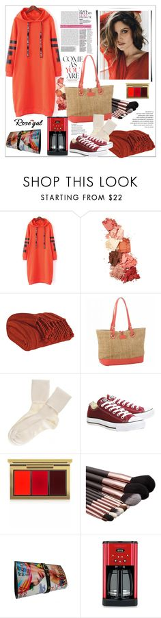 """""""Rosegal.Casual Hooded Graphic Hoodie Dress"""" by natalyapril1976 ❤ liked on Polyvore featuring Lime Crime, Spartina 449, Black, Converse, MAC Cosmetics and Cuisinart"""