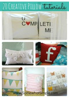 20 Creative Pillow Tutorials from SomewhatSimple.com #sewing #pillows #diy