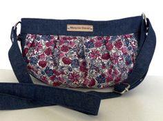 Sac Cancan en jean et coton floral cousu par Martine - Patron Sacôtin