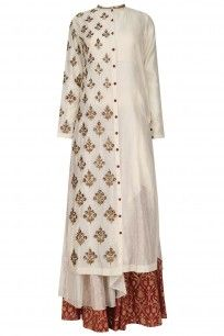 Cream Floral Embroidered Asymmetric Kurta and Skirt Set