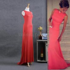 Sexy Women Long Maxi Sleeveless Evenning Prom Party Dress Ball Gown O-Neck Red S