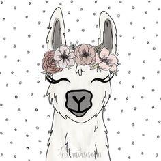 Alpaca with flowers Alpacas, Llama Drawing, Llama Face, Llama Arts, Llama Birthday, Arte Country, Llama Alpaca, Animal Faces, Rock Art