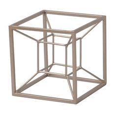 Moncada Metal Tesseract Shaped Table Sculpture