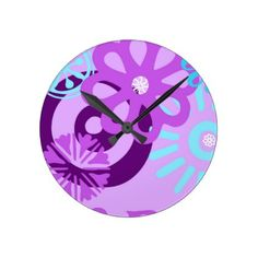 floral funky wall clock - home gifts ideas decor special unique custom individual customized individualized