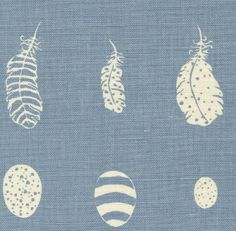 Feather & Egg Blotch Linen Fabric Sky blue print on off white linen