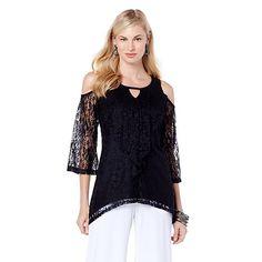f0d0fec83973a HSN 2015 Slinky® Brand Lace Cold-Shoulder Top