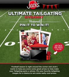 Enter to win Jack's Hamburgers Ultimate Tailgating Giveaway! Show us your Pinterest skills and pump up your tailgating experience this football season with great prizes from Jack's Hamburgers! #eatatjacks #tailgating #football