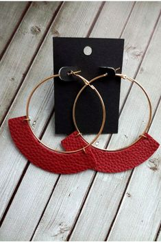 Leather hoop earrings Curved faux leather Large gold hoop Boho style Assorted colors Round earrings Bohemian jewelry Burgundy $23.00 #leatherearrings #hoopearrings #Burgundyearrings #wineredearrings