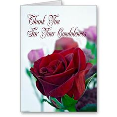 Thank you for your sympathy card, with a red rose