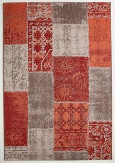 vintage teppich patchwork gelb-braun gemustert 080x150 cm, frisee, Hause deko