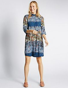 Ditsy Floral Print ¾ Sleeve Swing Dress   M&S