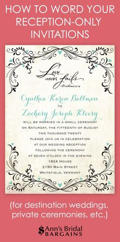 21 Beautiful At Home Wedding Reception Invitations | Post-Reception ...