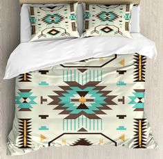SanChic Duvet Cover Set Turquoise Orange Navajo White Stripes Mexican Serape Threads Decorative Bedding Set with 2 Pillow Cases Full/Queen Size