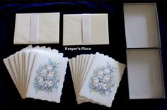 16 Shabby Cottage Chic Embossed Blue Floral Notecards Envelopes Cheryl Smith New #ShabbyCottageVictorianchic