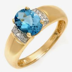10K Solid Yellow Gold Ring with Diamond & Topaz RRP $429