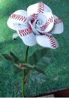 Creative Gift Idea - Sport Buds - This one is a flower made out of a repurposed baseball.@jaclyn843 #BaseballBoys