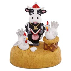 Moo-ey Christmas 2016 Hallmark Ornament - Cow Chickens Farm Band Singing Motion #Hallmark