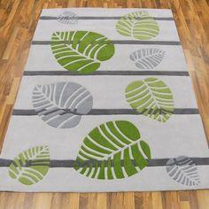 Tom Tailor Leaf Grey Green Rugs Online At Modern Uk