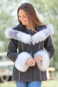 Women's Irma Shearling Sheepskin Jacket with Fox Fur Trim by Overland Sheepskin Co. (style 13913)