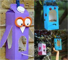 Vogelfutterstation aus Saft- oder Milchkarton basteln