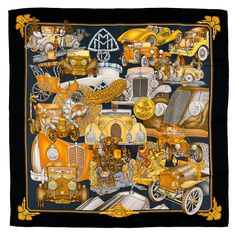 WOW! Hermes Silk Scarf - 'Automobile' | From a collection of rare vintage scarves at https://www.1stdibs.com/fashion/accessories/scarves/