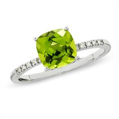 Peridot. The most beautiful color of all the gems. Cushion-Cut Peridot Ring in 10K White Gold with Diamond Accents