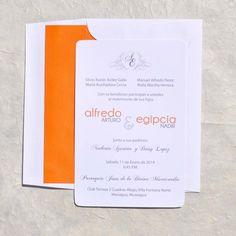 Round in White Tangerine Wedding Invitations
