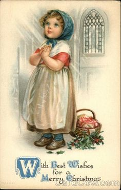 ❤ Vintage Greeting Card Art Poster Print! ☮~ღ~*~*✿⊱╮ レ o √ 乇 !! - Children by Ellen Clapsaddle - Christmas