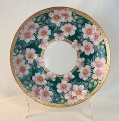Sandra and Maria Vumbaca, Ceramic artists. Floral on Procelain Plate.