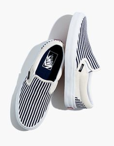 Vans® Unisex Classic Slip-On Shoes in Railroad Stripes Vans Slip On, Vans Classic Slip On, Slip On Sneakers, Slip On Shoes, Custom Slip On Vans, Platform Shoes, Vans Shoes Fashion, Vans Shoes Women, Vans Men